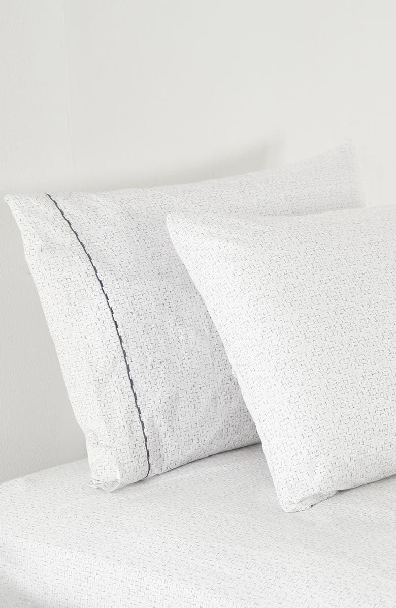 SPLENDID HOME DECOR Lattice 400 Thread Count Set of 2 Pillowcases, Main, color, WHITE/ SILVER BLUE
