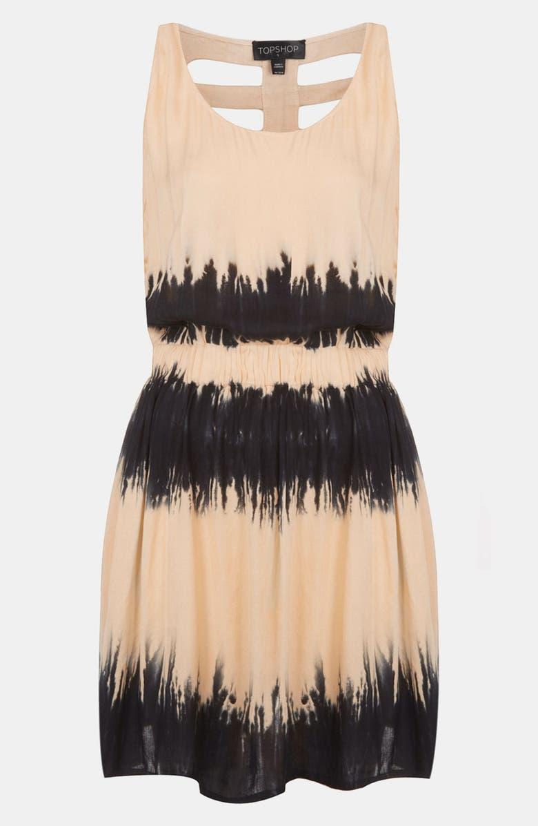 TOPSHOP Cage Back Tie Dye Dress, Main, color, 001