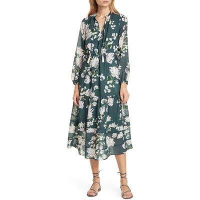Dolan Sandrine Floral Split Neck Long Sleeve Dress, Grey