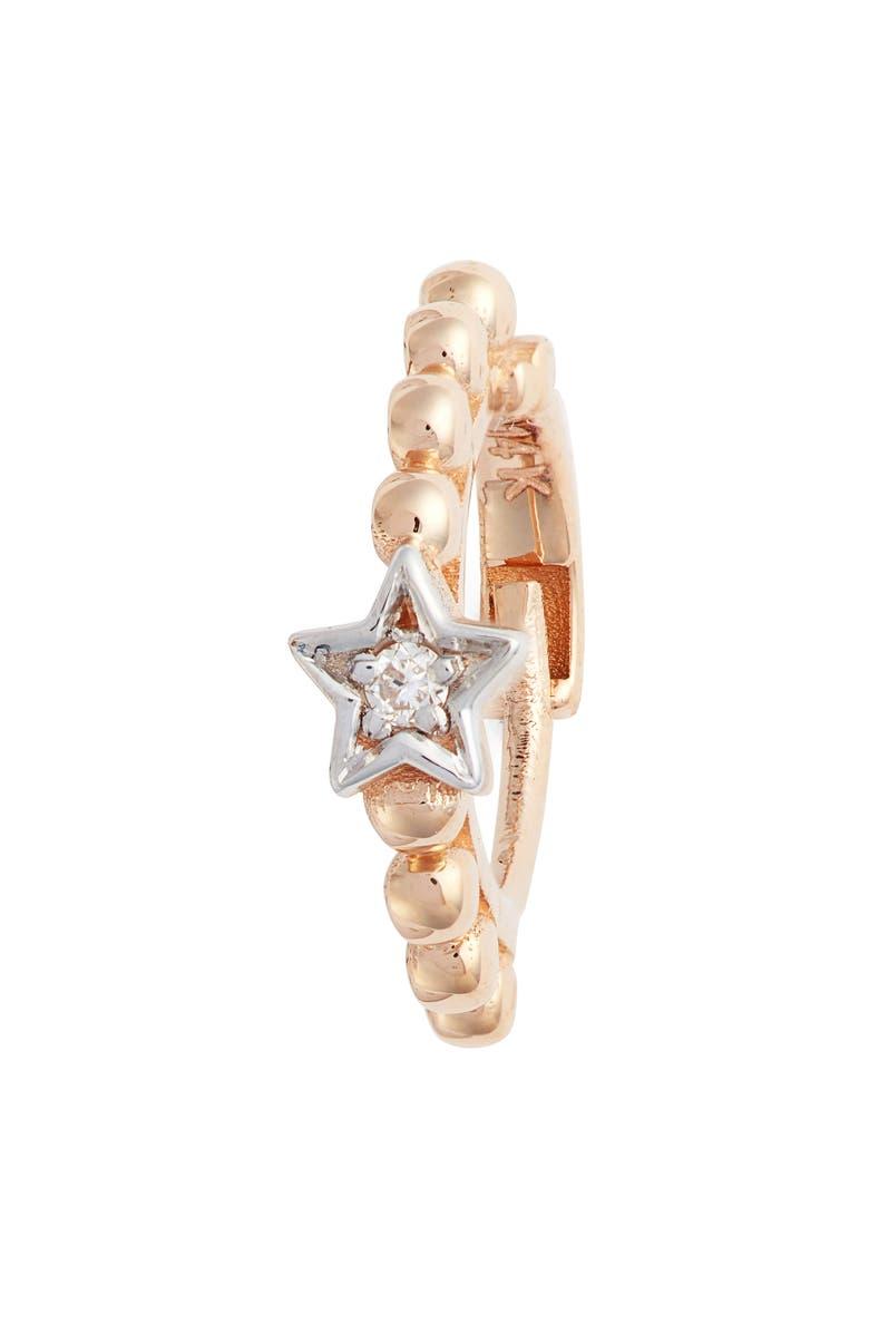 KISMET BY MILKA Single Diamond Star Beaded Hoop Earring, Main, color, ROSE GOLD