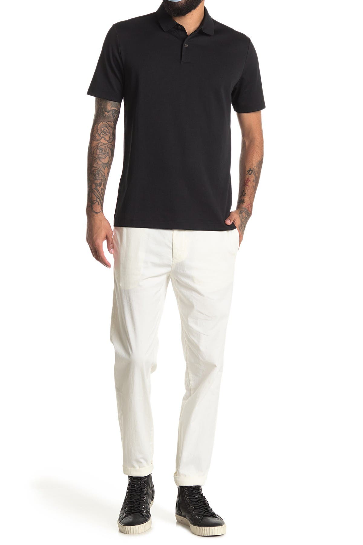 Image of Theory Zaine Patton Flat Front Stretch Solid Cotton Pants