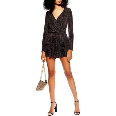 Topshop Glitter Stripe Romper, US (fits like 10-12) - Black