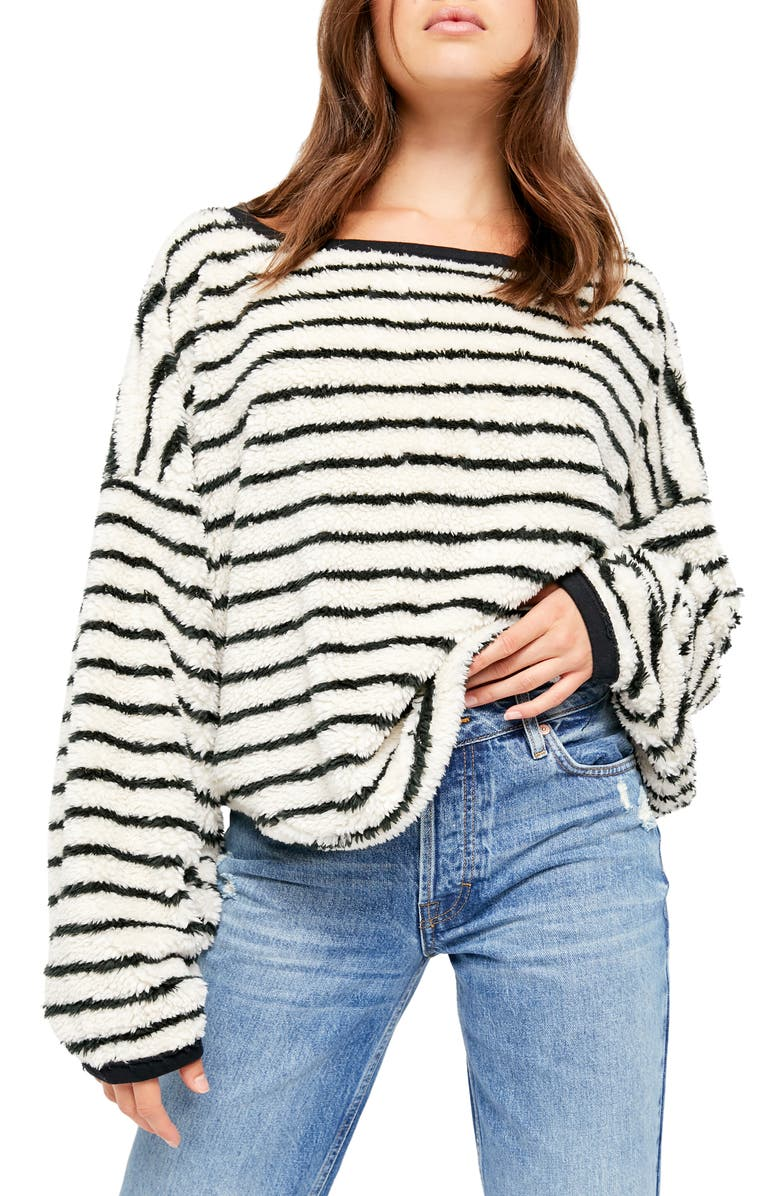 FREE PEOPLE Breton Stripe Pullover, Main, color, EGGNOG COMBO