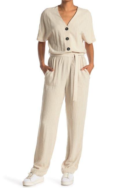 Image of Cloth By Design Crosshatch Tie Waist Jumpsuit