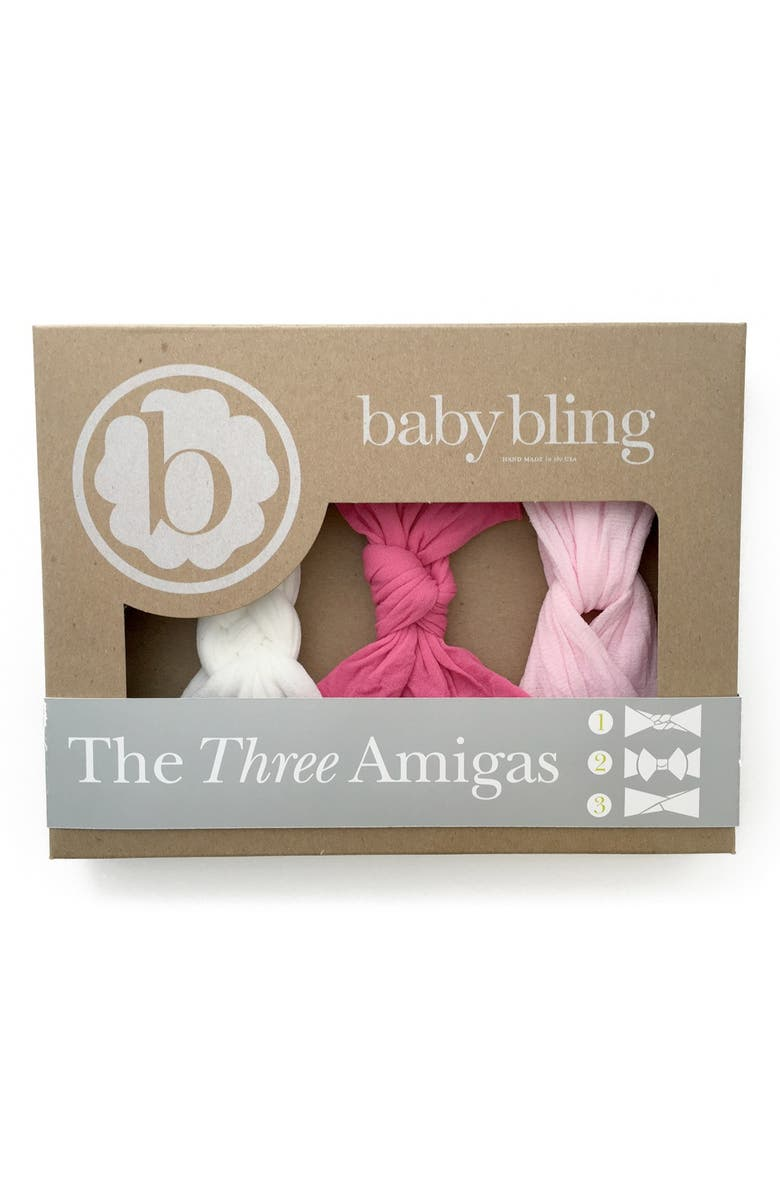 BABY BLING Knot Headbands, Main, color, HOT PINK/ WHITE/ PINK