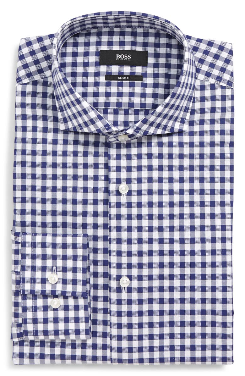 BOSS Jason Slim Fit Check Dress Shirt, Main, color, NAVY