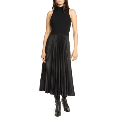 Polo Ralph Lauren Wynna Mix Media Sleeveless A-Line Dress, Black