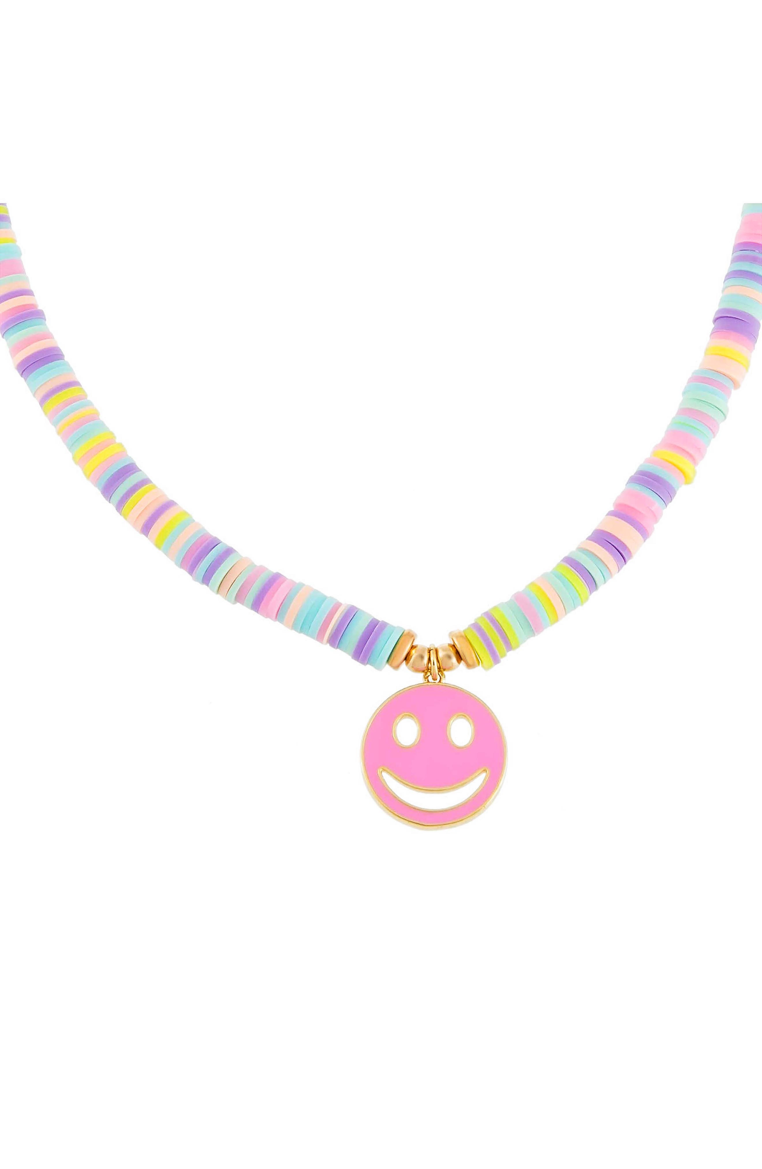 Women's Adina's Jewels Beaded Smiley Face Pendant Necklace