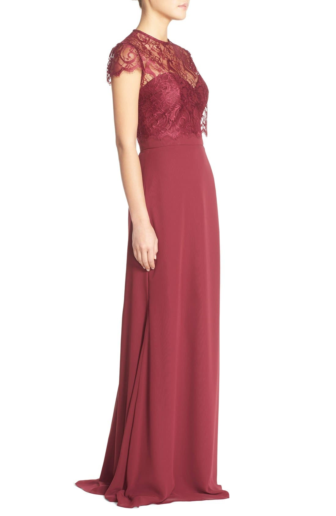 ,                             Strapless Chiffon A-Line Gown with Removable Lace Overlay,                             Alternate thumbnail 15, color,                             930