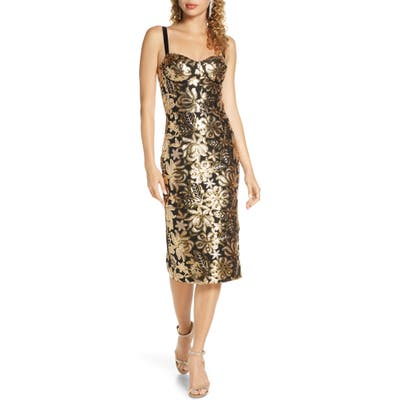 Bronx And Banco Louise Floral Sequin Sheath Dress, Metallic