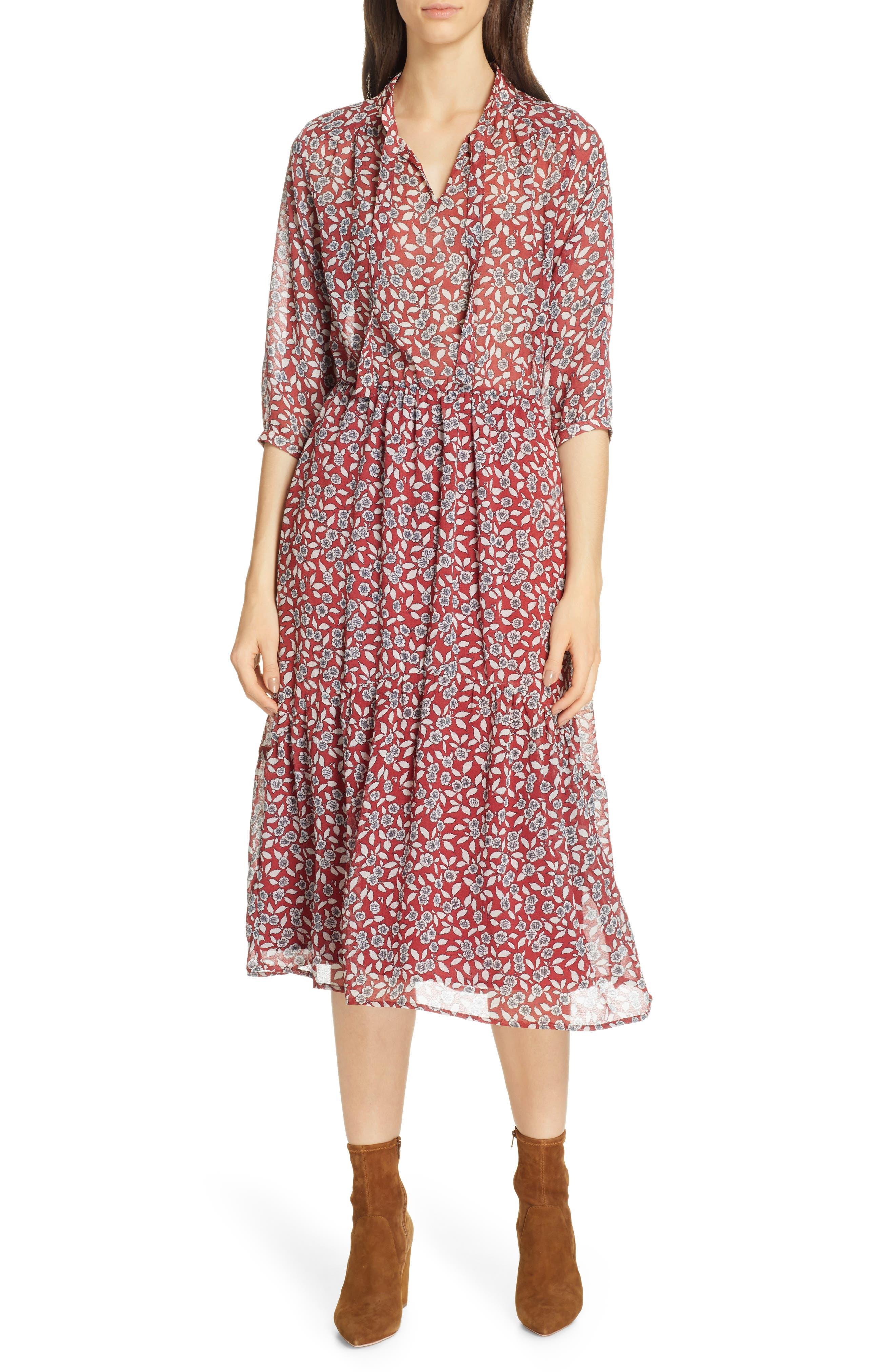 Ba & sh Bonnie Midi Dress, Burgundy