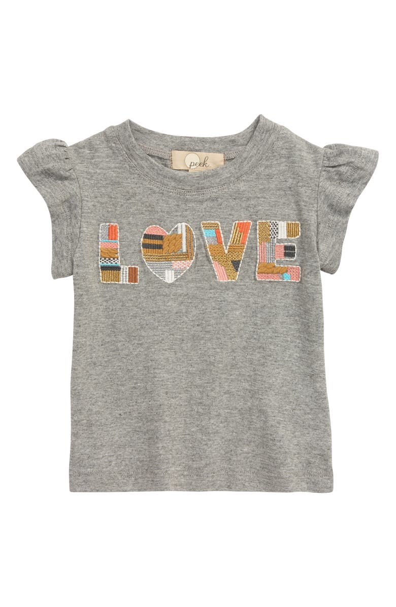 PEEK AREN'T YOU CURIOUS All For Love Embroidered Tee, Main, color, GREY HEATHER