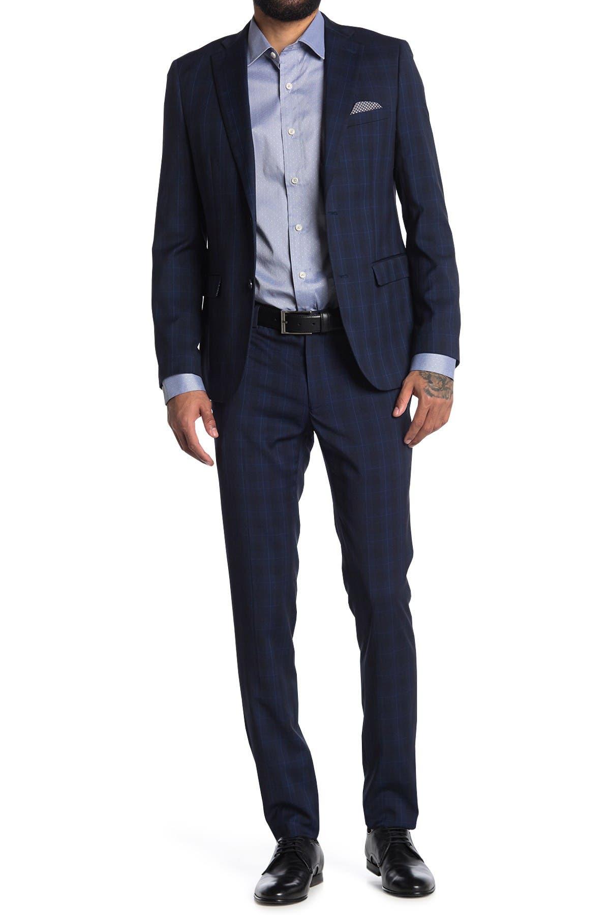 Image of SOUL OF LONDON Navy Windowpane Plaid Two Button Notch Lapel Slim Fit Suit