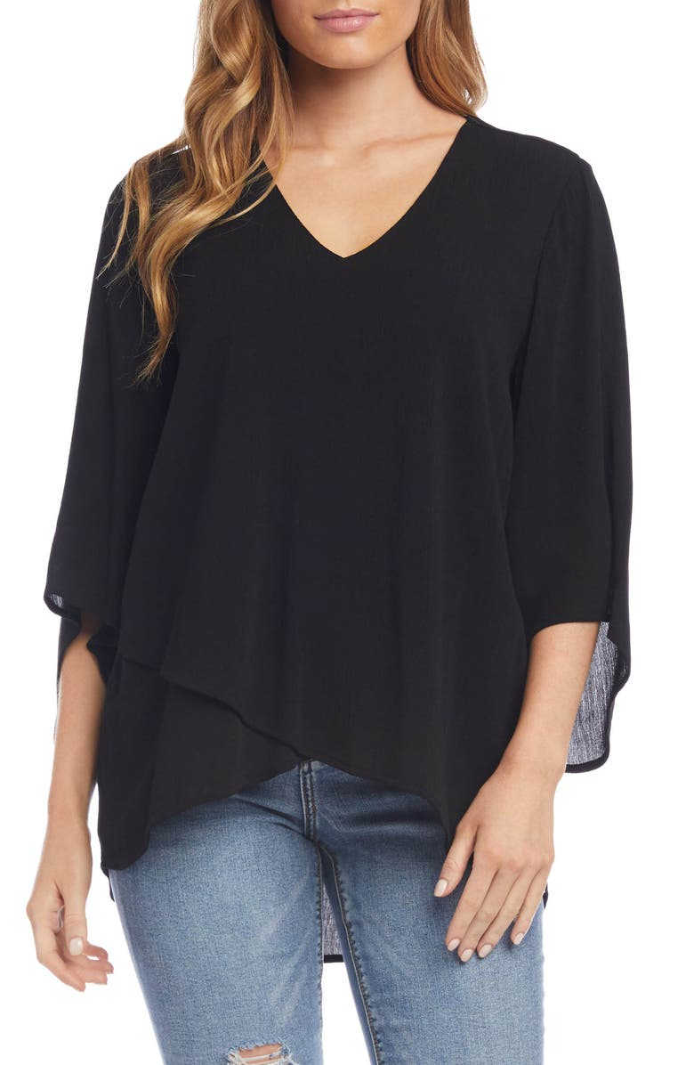 KAREN KANE Layered Top, Main, color, BLACK