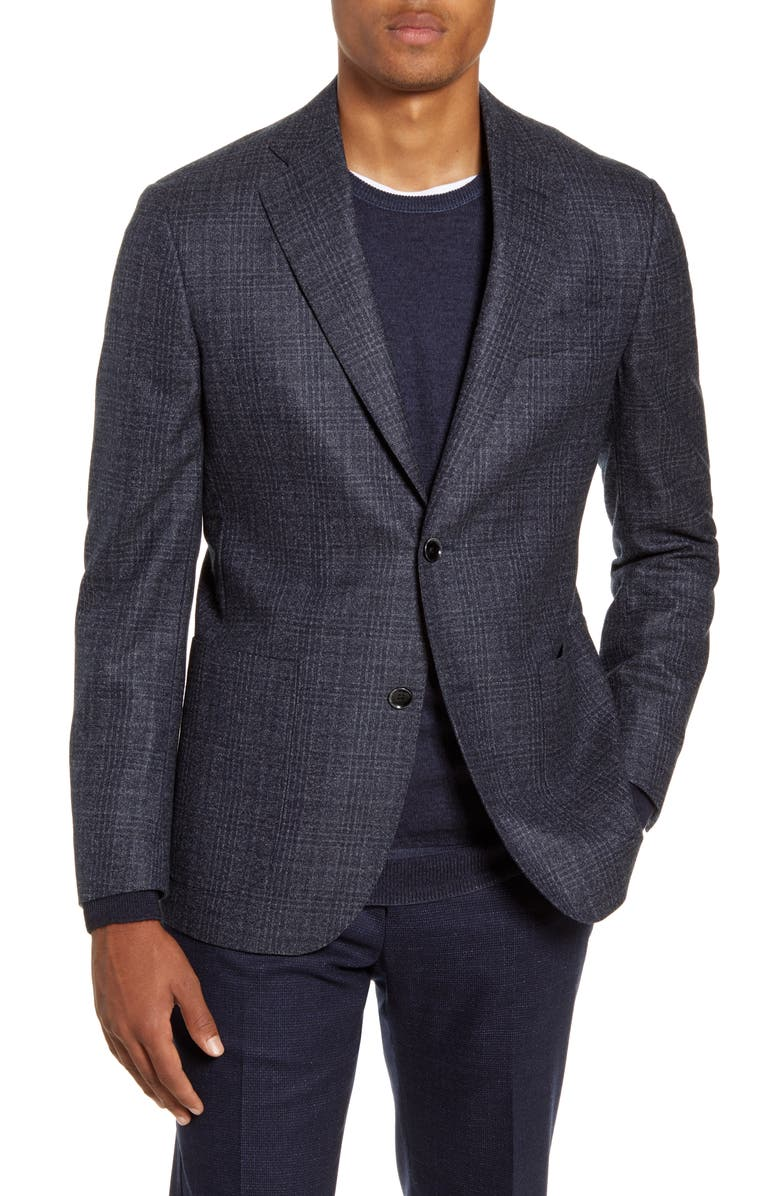 NORDSTROM SIGNATURE Trim Fit Plaid Wool Sport Coat, Main, color, NAVY BLAZER GREY CHECK