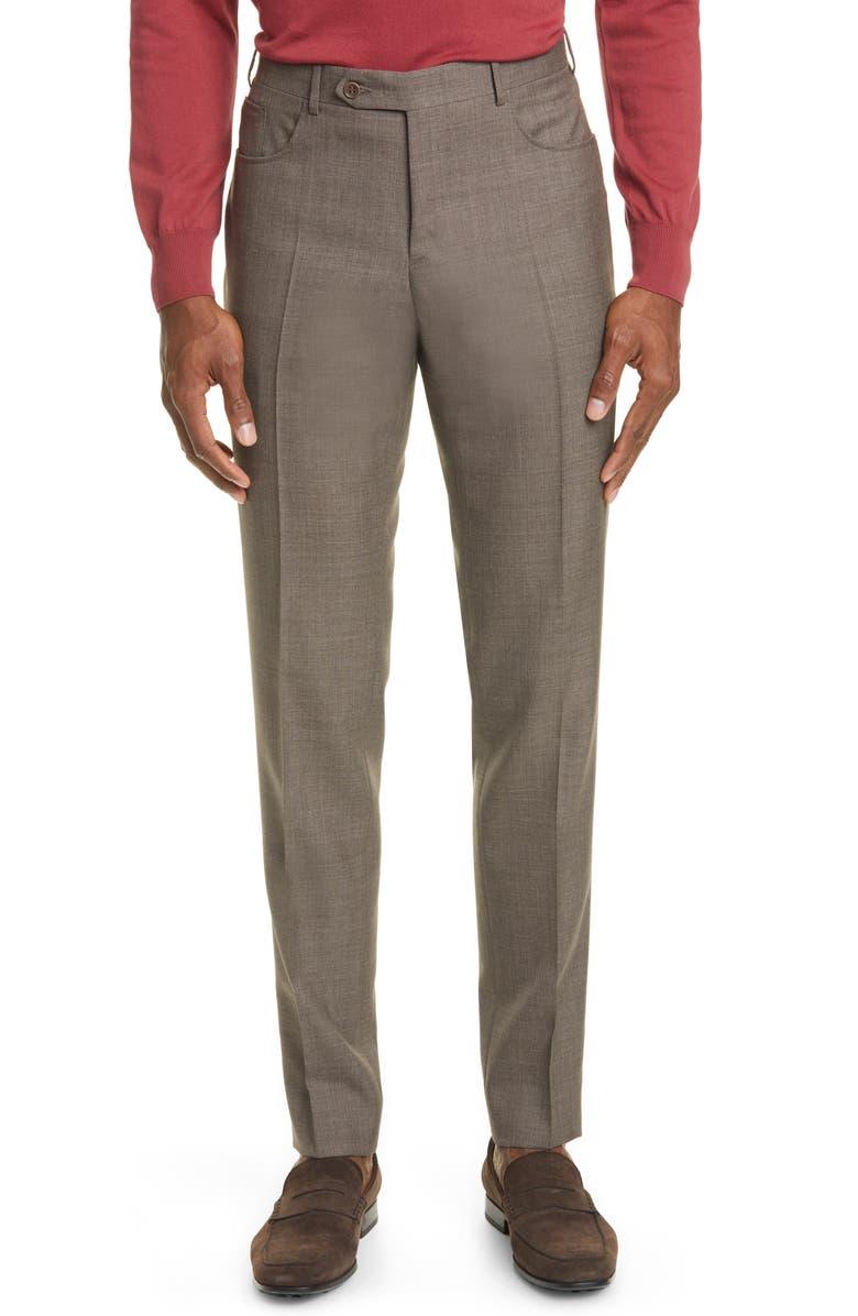 CANALI Flat Front Wool Travel Dress Pants, Main, color, 252