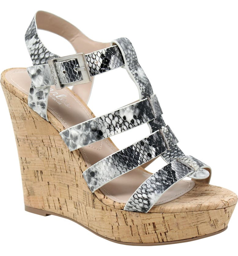 CHARLES BY CHARLES DAVID Arbor Wedge Sandal, Main, color, BLACK FAUX LEATHER