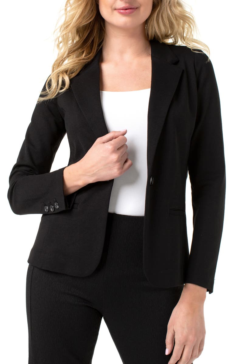 LIVERPOOL Fitted Knit Blazer, Main, color, BLACK