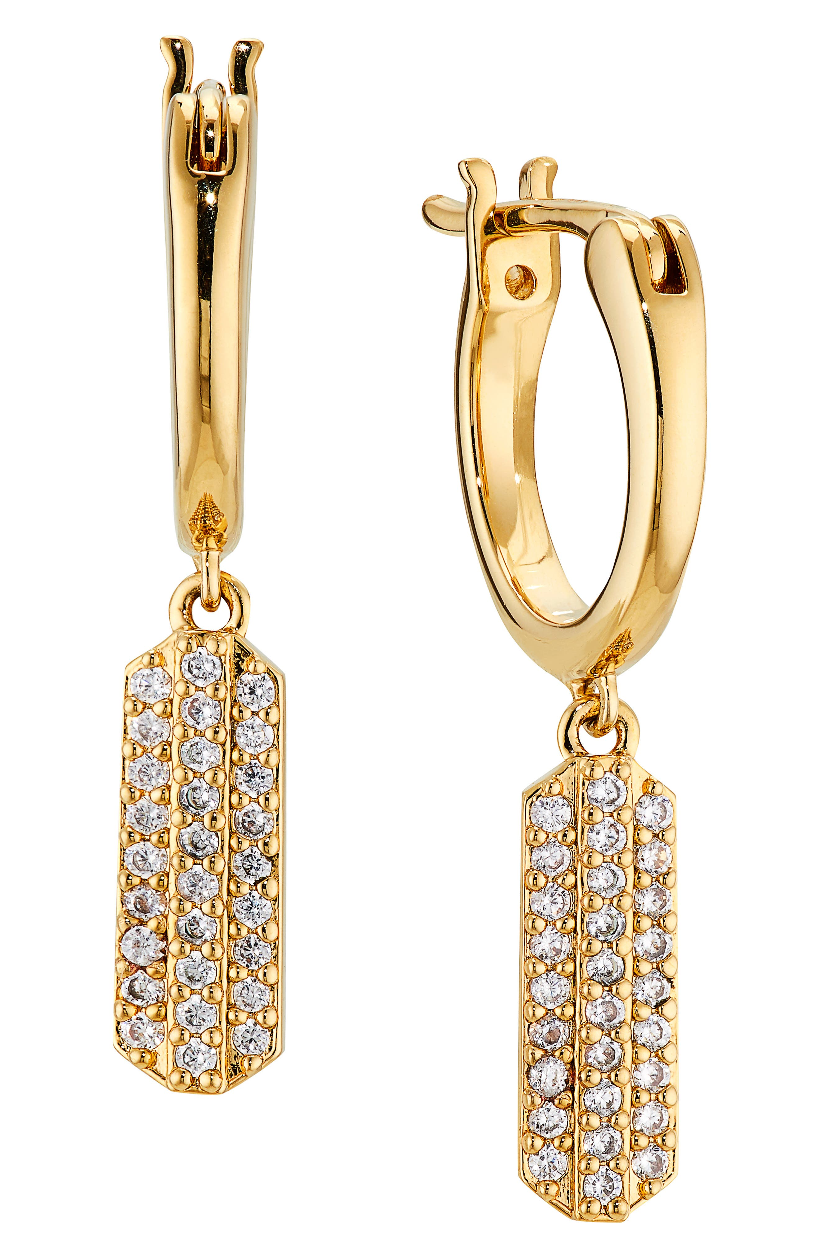 Wythe Pave Drop Huggie Hoop Earrings