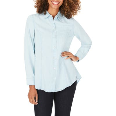 Foxcroft Juliet Chambray Button-Up Shirt, Blue