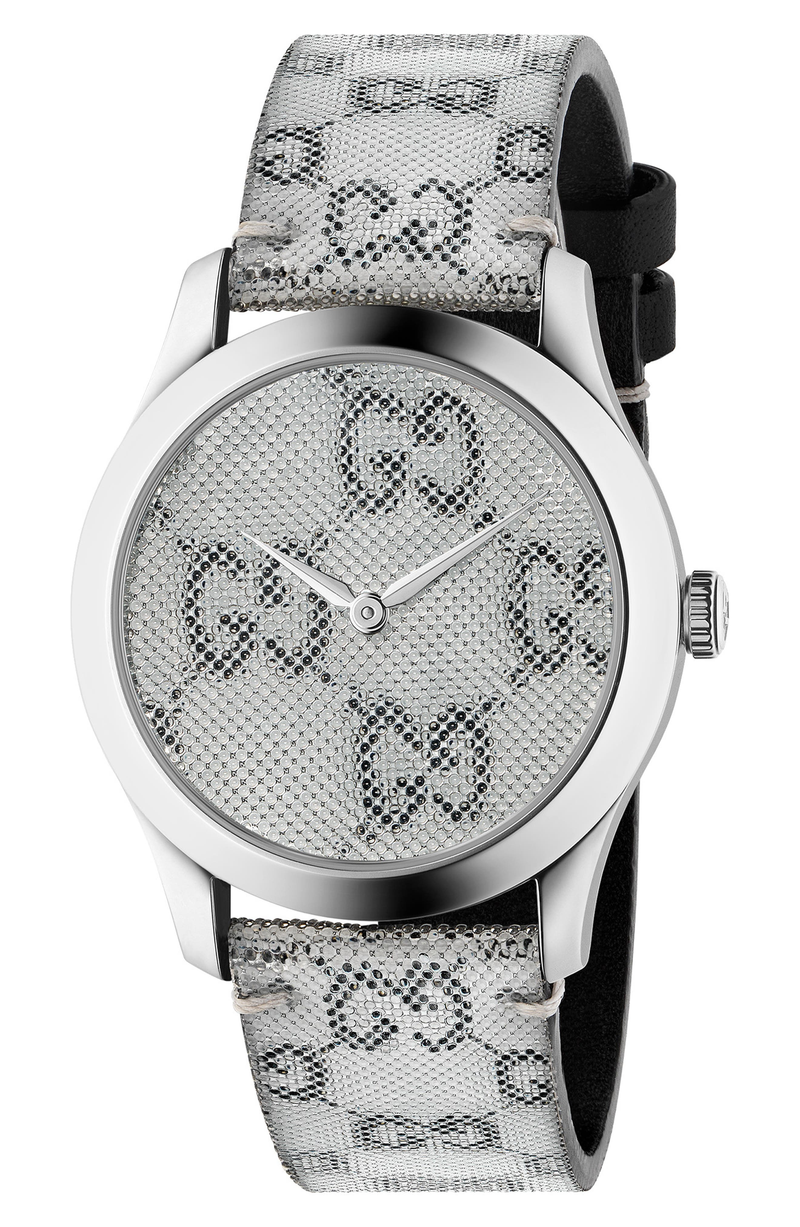 ,                             G-Timeless Holo Strap Watch, 38mm,                             Main thumbnail 1, color,                             GREY/ SILVER