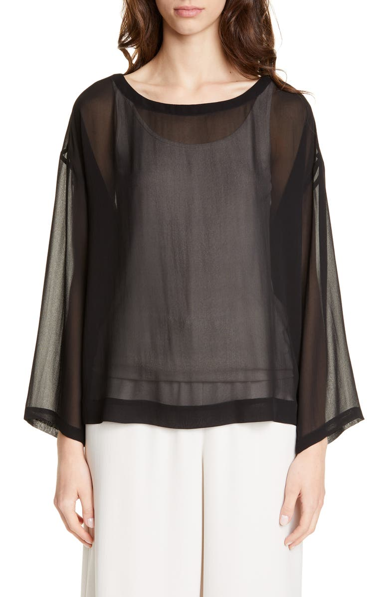 EILEEN FISHER Ballet Neck Chiffon Boxy Top, Main, color, BLACK