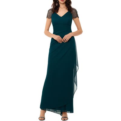 Xscape Embellished Mesh Sheath Evening Gown, Green
