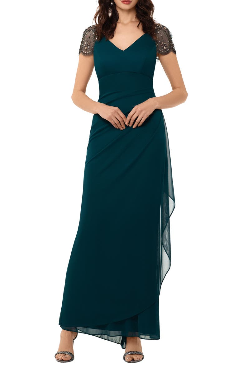 XSCAPE Embellished Mesh Sheath Evening Gown, Main, color, NEO EMERALD