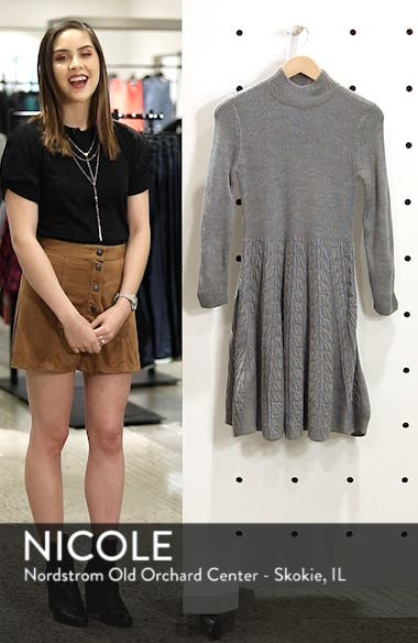 Mock Neck Fit & Flare Sweater Dress, sales video thumbnail