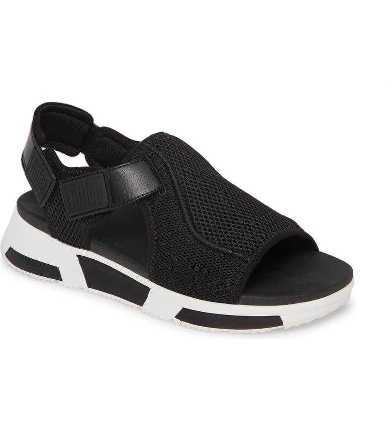 FITFLOP Alyssa Sandal, Main, color, BLACK MIX FABRIC