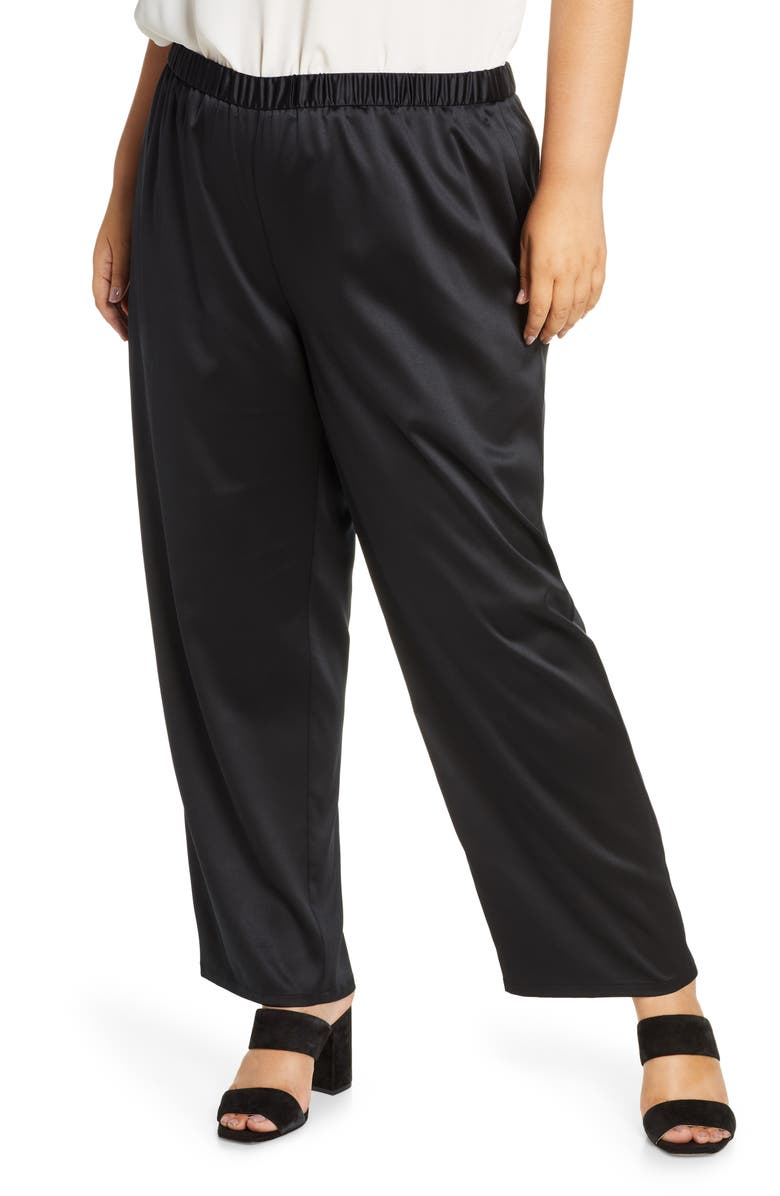 EILEEN FISHER Straight Leg Pants, Main, color, BLACK