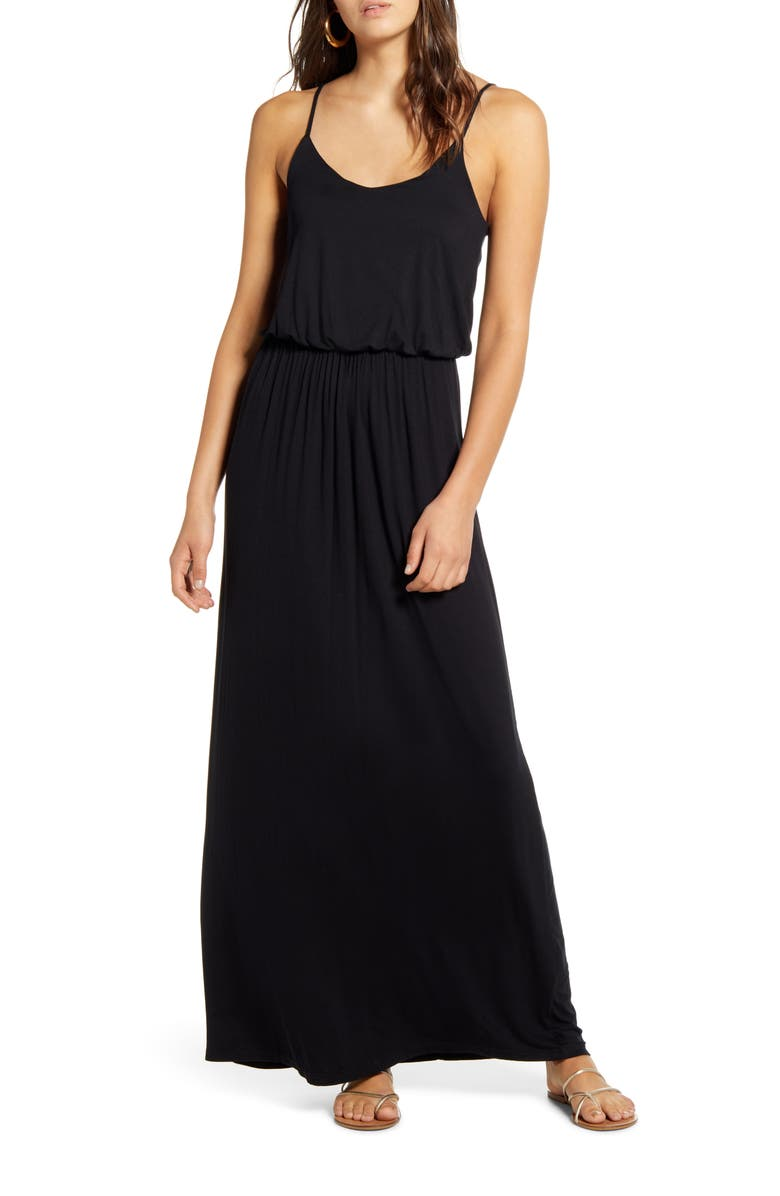ALL IN FAVOR Knit Maxi Dress, Main, color, BLACK