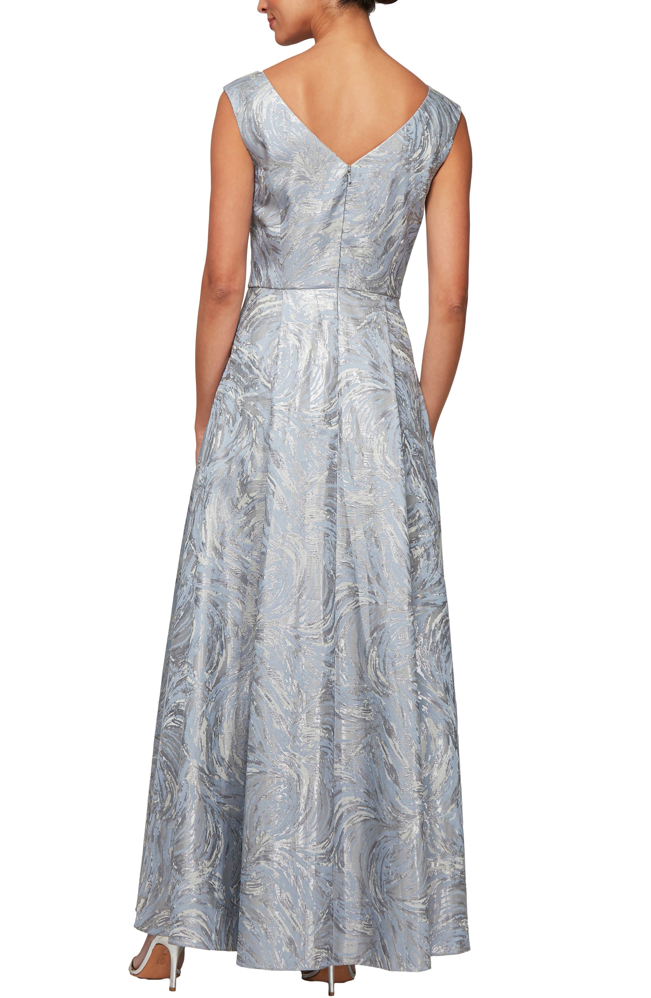 ,                             Metallic Swirl High/Low Evening Dress,                             Alternate thumbnail 2, color,                             SILVER MULTI
