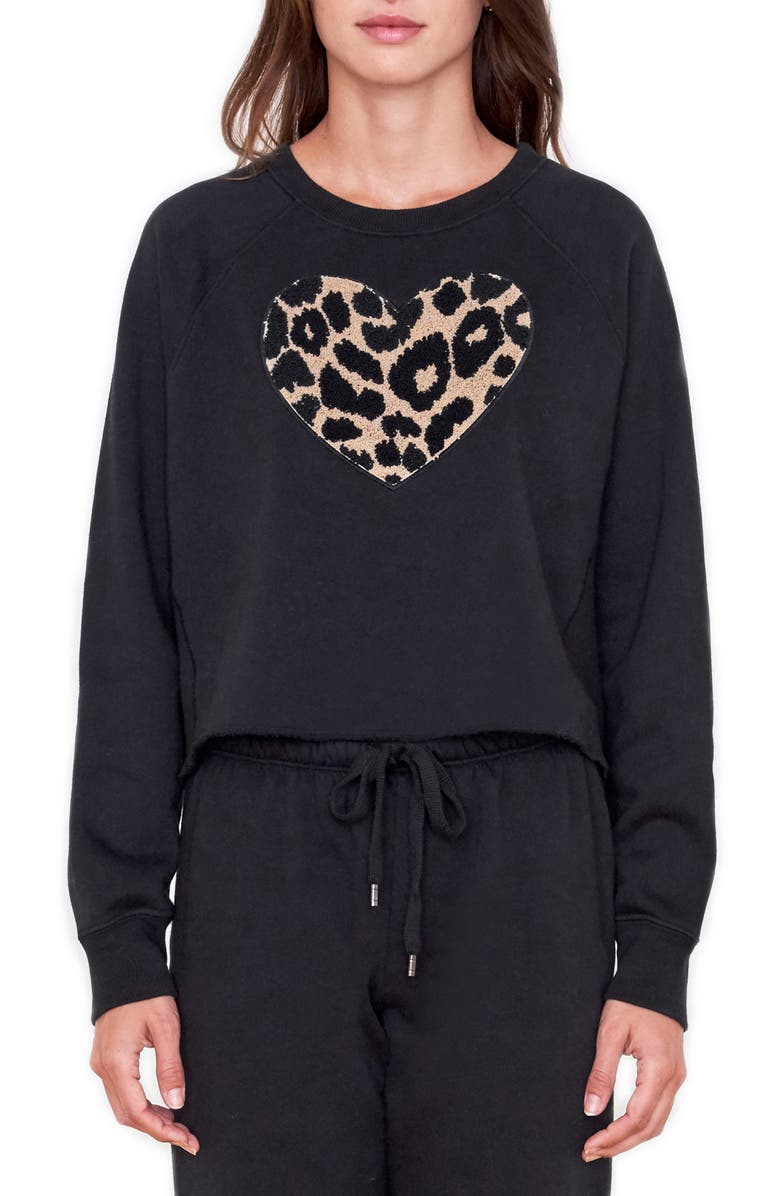 SUNDRY Leopard Heart Sweatshirt, Main, color, BLACK