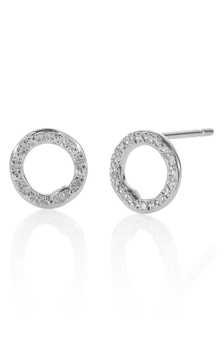 MONICA VINADER 'Riva' Circle Stud Diamond Earrings, Main, color, SILVER