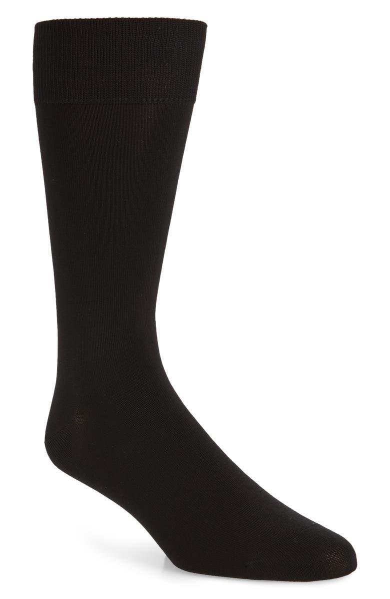 NORDSTROM MEN'S SHOP Solid Dress Socks, Main, color, BLACK
