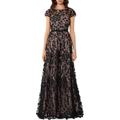 Xscape Floral Embroidered Tulle Gown, Black