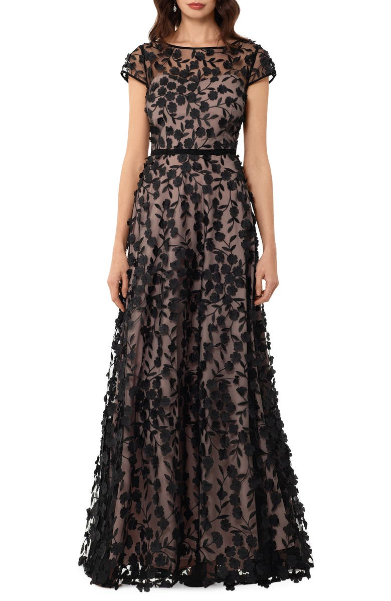 XSCAPE Floral Embroidered Tulle Gown, Main, color, BLACK/ NUDE