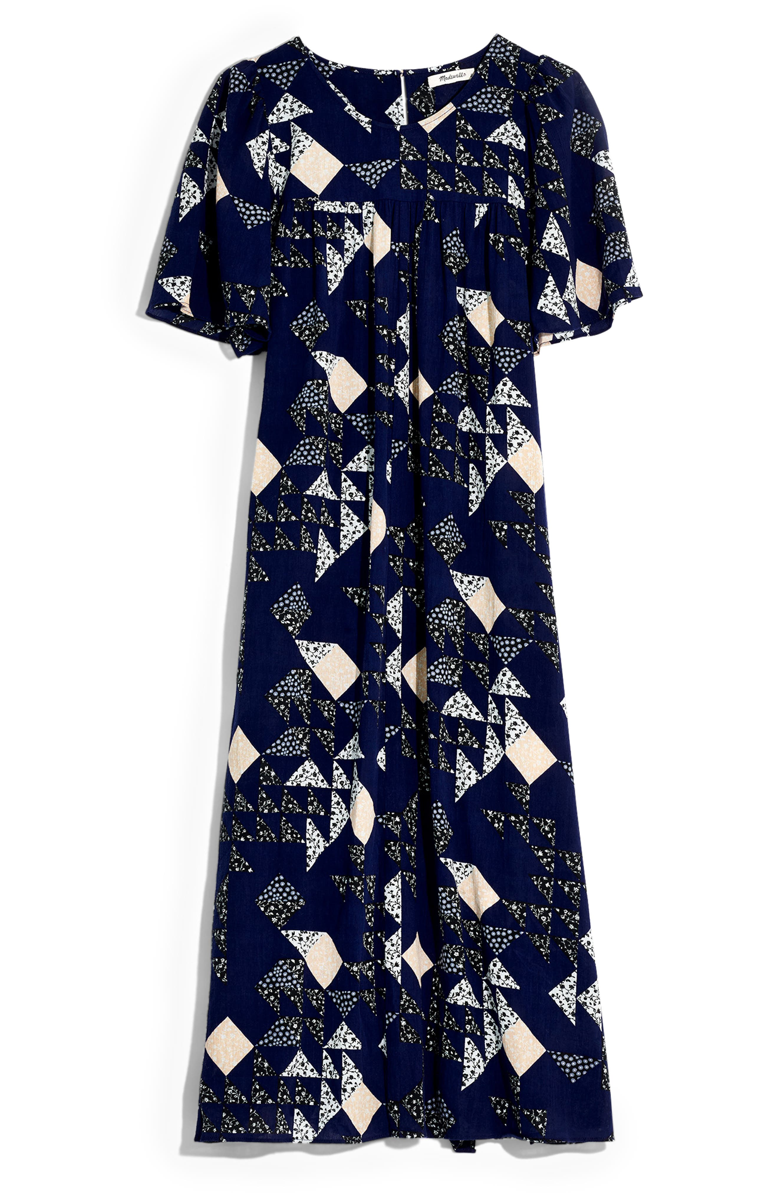 Madewell Patchwork Quilt Midi Dress, Purple