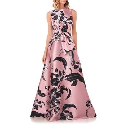 Kay Unger Grace Floral Twist Front Ballgown, Pink