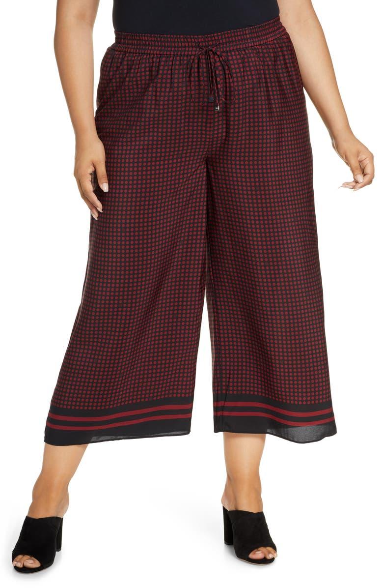 MICHAEL MICHAEL KORS Chic Dot Wide Leg Pants, Main, color, 947 BLK/ DKBRANDY