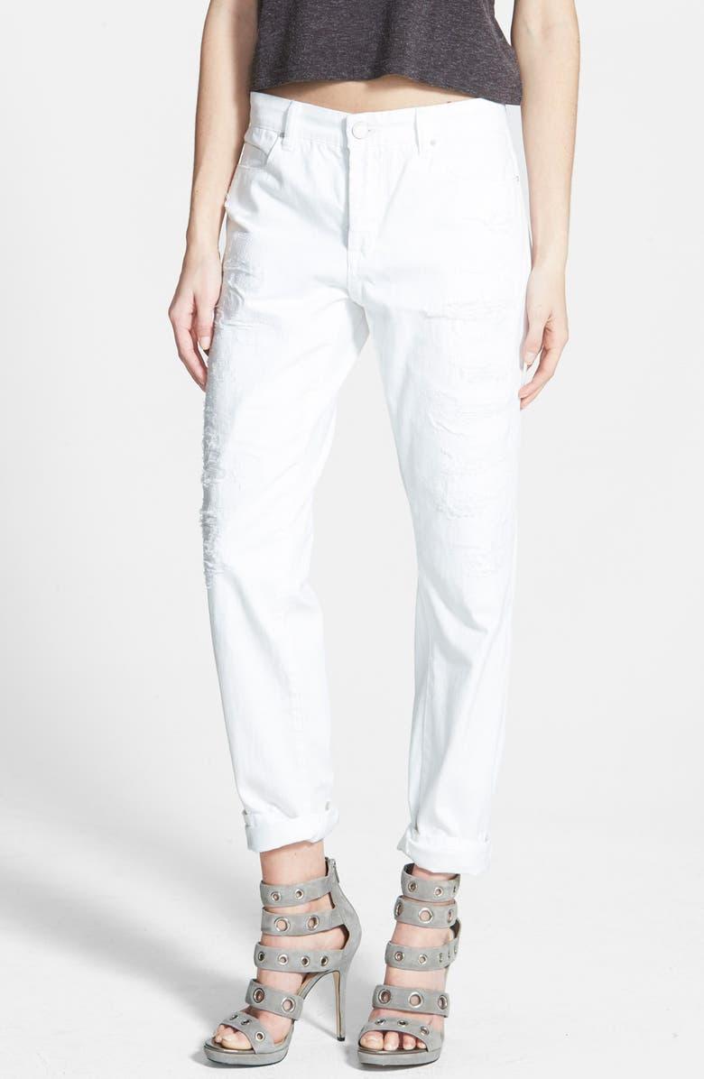 BLANKNYC Destroyed Boyfriend Jeans, Main, color, 100