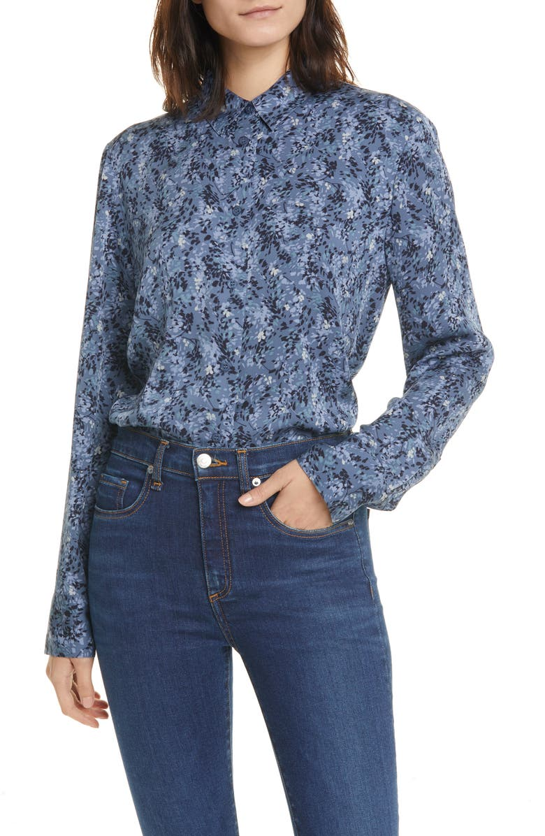 NORDSTROM SIGNATURE Floral Stretch Silk Button-Up Shirt, Main, color, BLUE VINTAGE JESSA PRINT