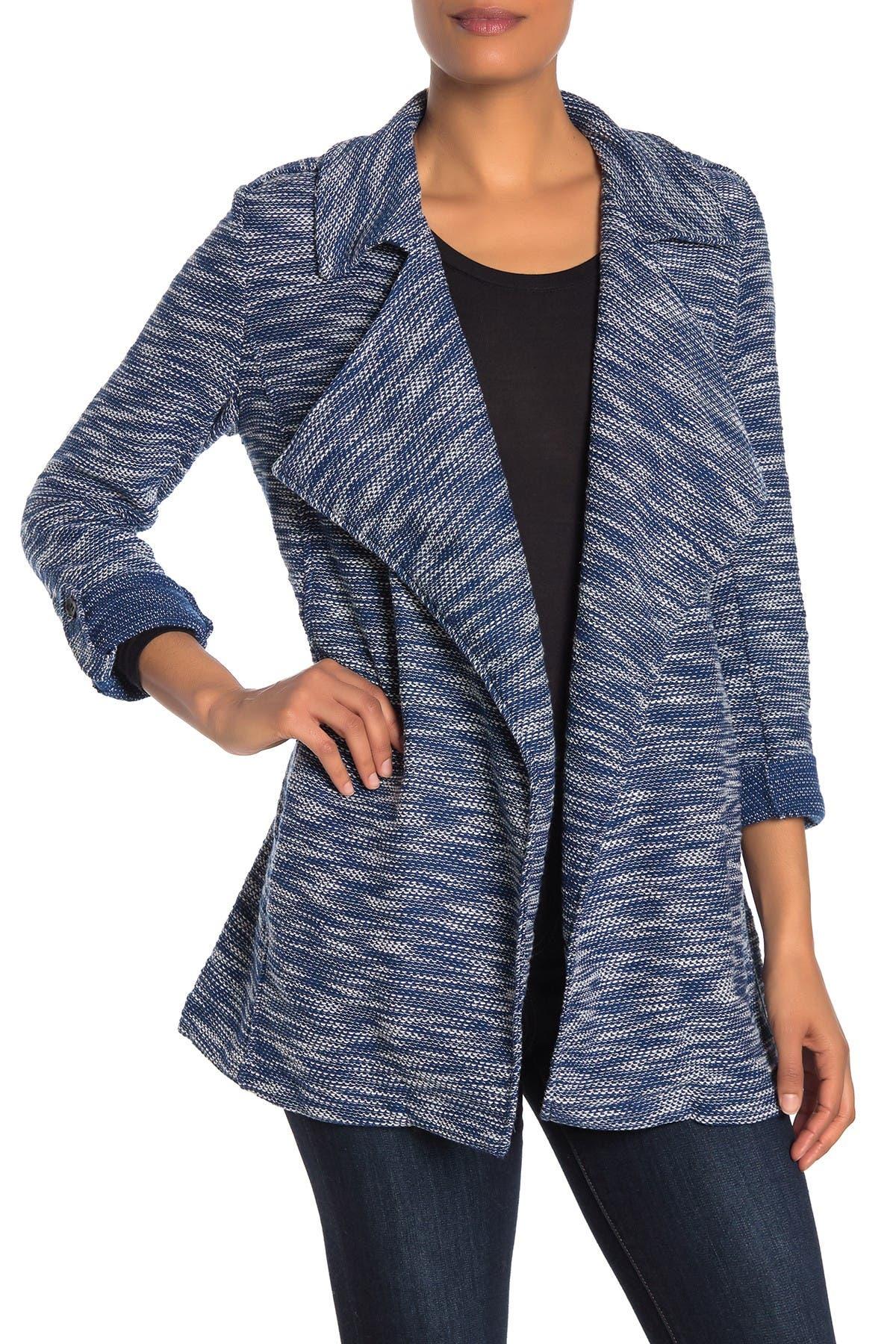 Image of Bagatelle Drape Front Tweed Blazer