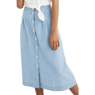 Madewell Chambray Patio Button Front Midi Skirt, Blue