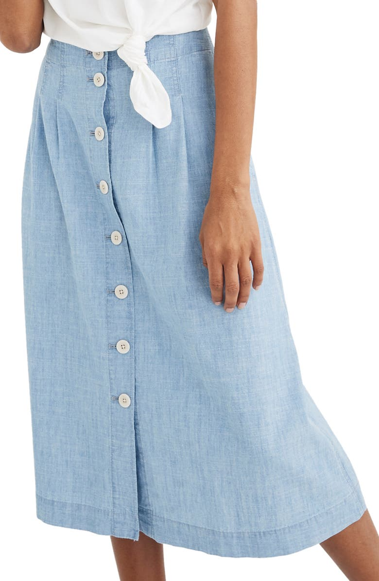 MADEWELL Chambray Patio Button Front Midi Skirt, Main, color, WEATHERLY WASH
