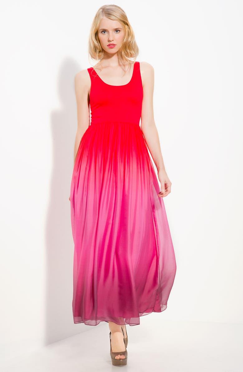 ALICE + OLIVIA 'Claire' Maxi Dress, Main, color, RED OMBRE