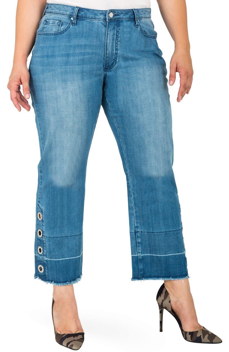 STANDARDS & PRACTICES Meryl Grommet Detail Wide Leg Jeans, Main, color, BLUE