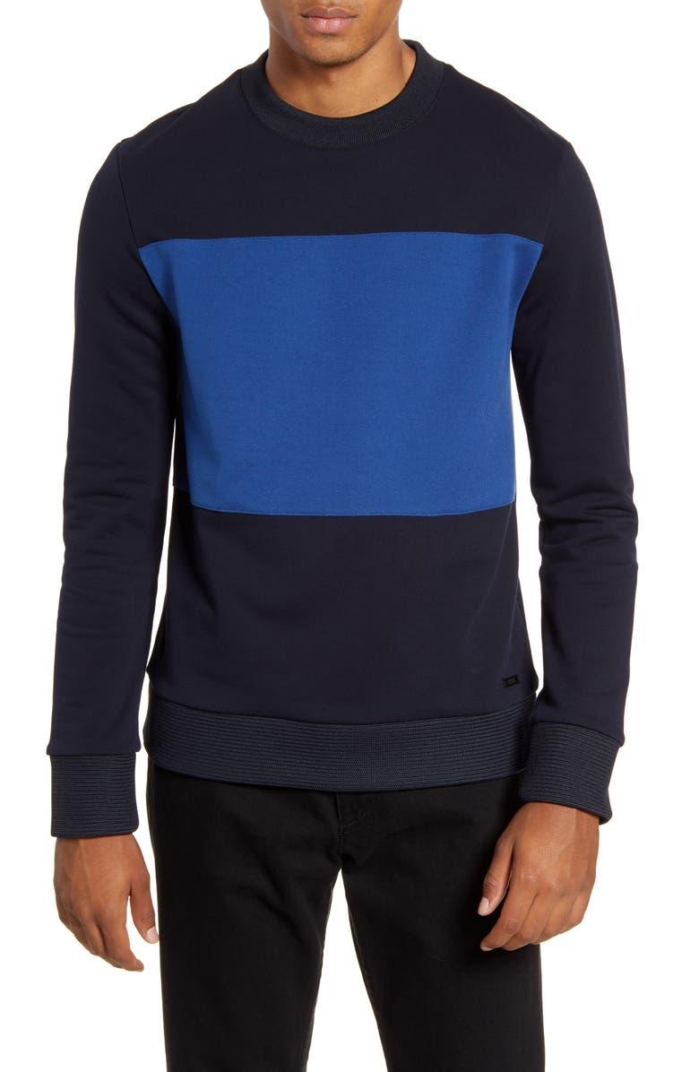 BOSS Stalder Cotton Crewneck Sweatshirt, Main, color, NAVY