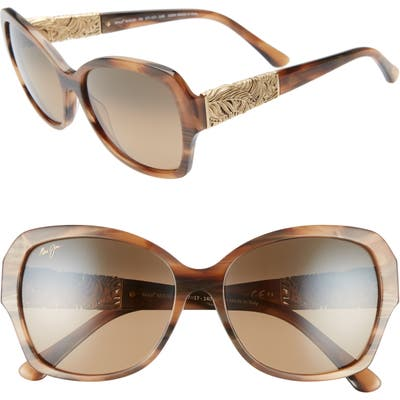 Maui Jim Swaying Palms 57Mm Polarized Butterfly Sunglasses - Brown And Pearl/ Yellow Gold